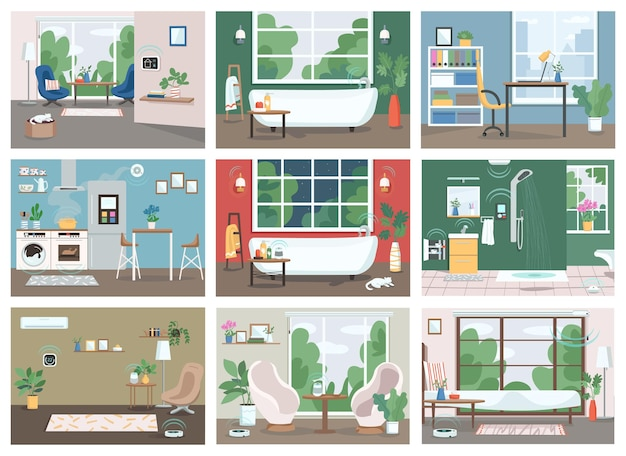 Smart home flat color set. automated kitchen, bathroom and living room 2d cartoon interior.