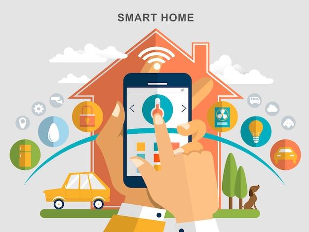 Умный дом плоский дизайн иллюстрация бытовая техника удаленно управляется с помощью смартфона