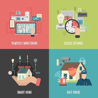 Smart home flat icons square