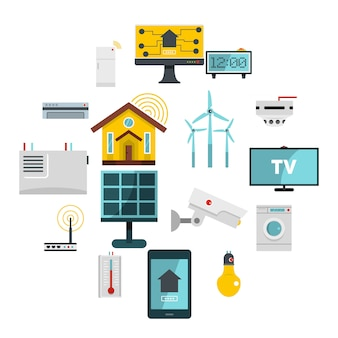 Smart home house icons set in flat style