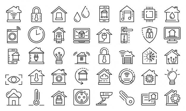 Smart home icons set, outline style