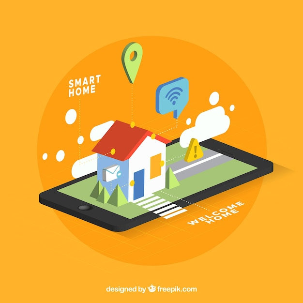 Free Smart Home In Isometric Style Svg Dxf Eps Png Cut File Silhouette Icon