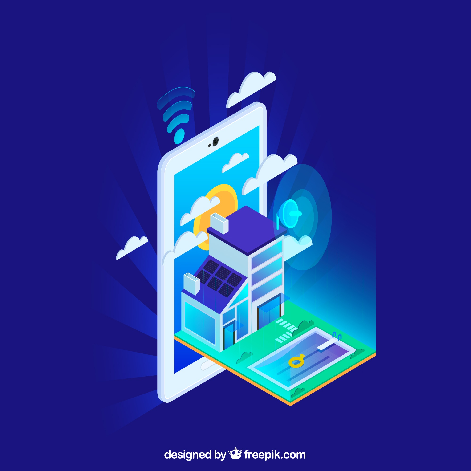 Smart home in isometric style