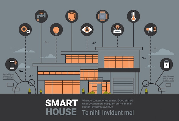 Smart home infographics banner modern house wireless control technology system concept