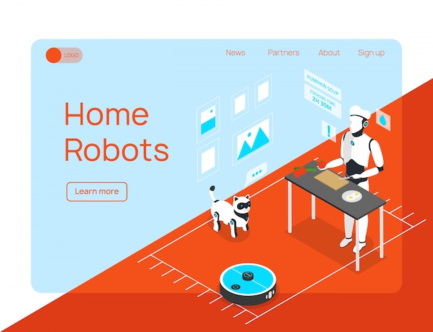 Smart home integrated humanoid household assistant cleaner and animal robots isometric landing page website design