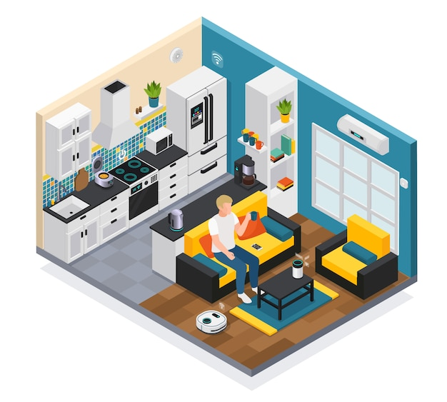 Smart home interior isometric composition with iot internet of things remote controlled kitchen living room devices  illustration