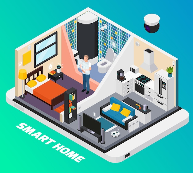Smart home interior isometric design with light system stove tv controlled with wearable mobile devices  illustration