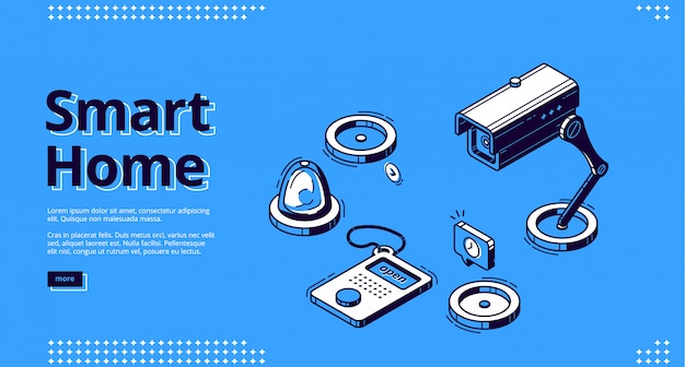 Smart home, internet of things isometric web