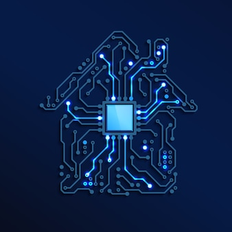 Smart home or iot concept blue circuit house with cpu inside