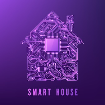Smart home or iot concept purple circuit house with cpu