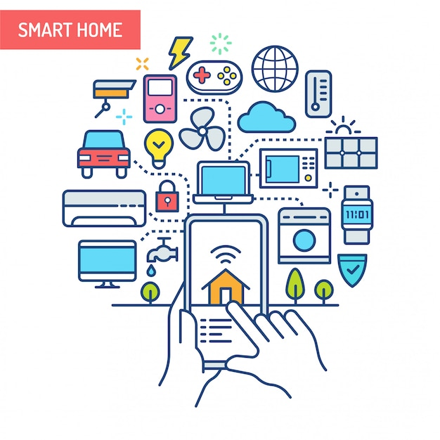 Smart home (iot) conceptual illustration.
