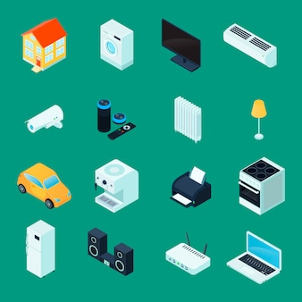 Smart home isometric icons collection with household  kitchen appliances laptop security camera green background isolated vector illustration