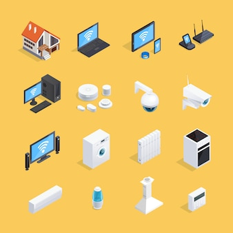 Smart home isometric icons set