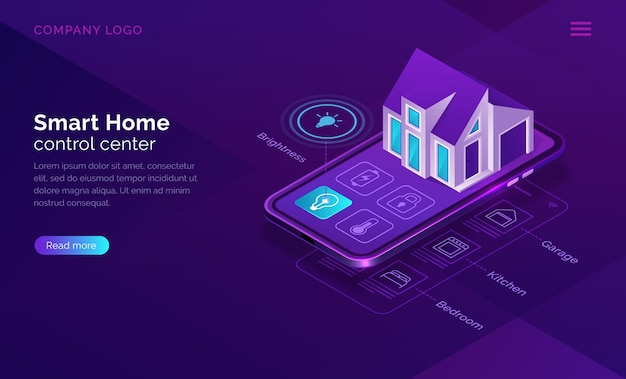 Smart home isometric, internet of things concept