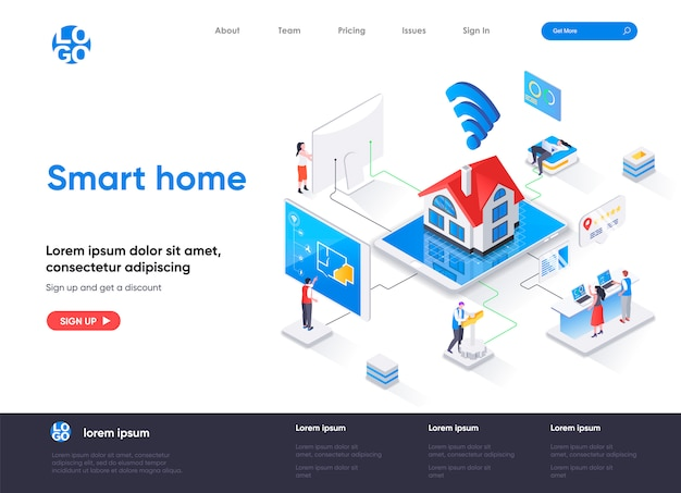 Smart home isometric landing page template