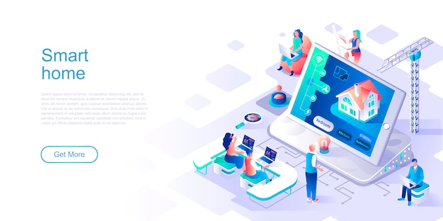 Smart home isometric landing page vector template.