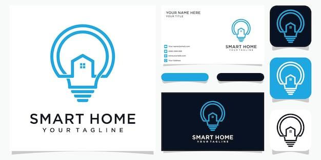 Умный дом в стиле арт-стиле с шаблоном визитной карточки Premium векторы