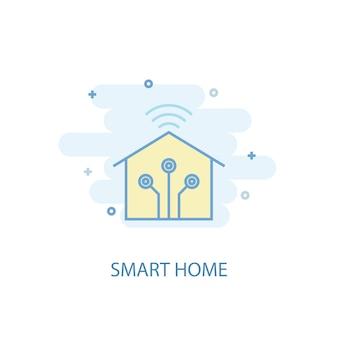 스마트 홈 라인 개념입니다. 간단한 라인 아이콘, 컬러 그림입니다. 스마트 홈 기호 평면 디자인입니다. ui/ux에 사용할 수 있습니다.