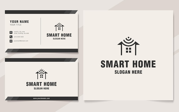 Smart home logo template on monogram style