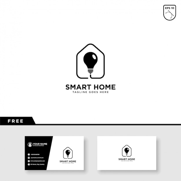 Smart home logo vector and business card template