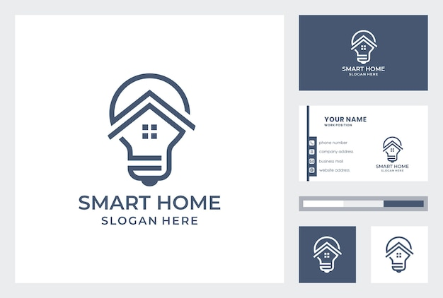 Smart home logo  with business card template.