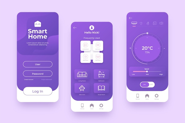 Smart home management in violet shades