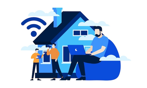 Smart home mini people work from home flat