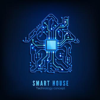 Умный дом или концепция iot. предпосылки будущего и инновационных технологий. blue circuit house с центральным процессором внутри. векторные иллюстрации