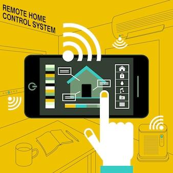Умный дом - система дистанционного управления в стиле плоский дизайн