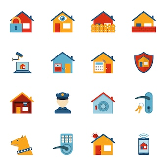 Smart home security system flat icons set