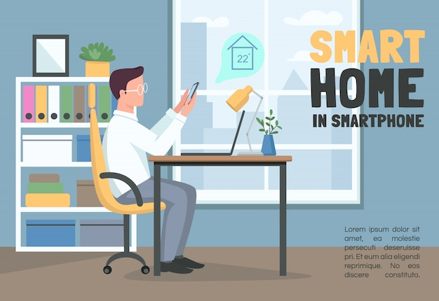 Smart home in smartphone banner   template. internet of things brochure, poster concept  with cartoon characters. remote climate control horizontal flyer, leaflet with place for text