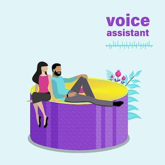 Smart home speaker surrounded by tiny people, sound waves. flat vector illustration.