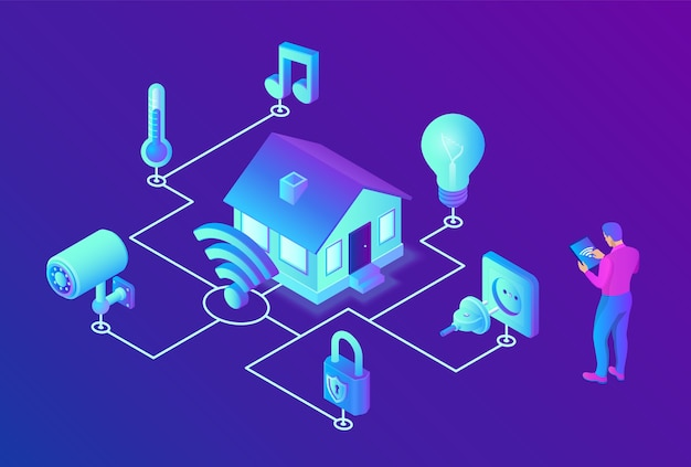 스마트 홈 시스템 개념. 3d 아이소 메트릭 원격 집 제어 시스템. iot 개념.