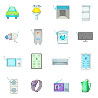 Smart home system icons set