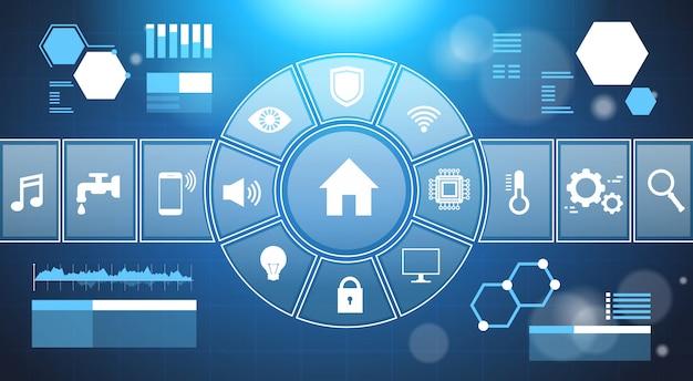 スマートホームシステムインフォグラフィックテンプレートバナーコントロールパネル付きアイコンモダンハウスオートメーション技術