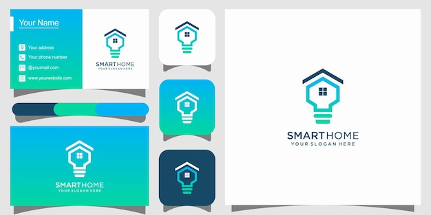 Smart home tech logo and business card premium