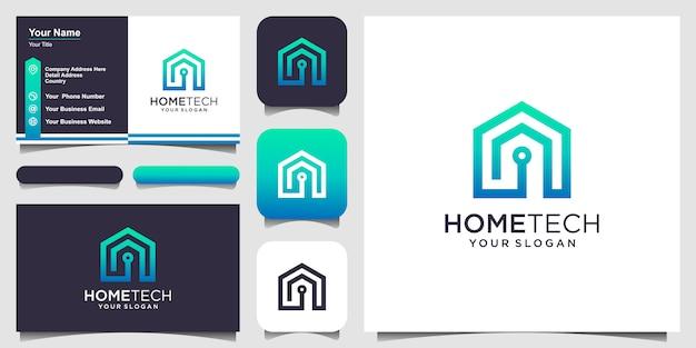 Технология умного дома с логотипом в стиле line art и дизайном визитной карточки