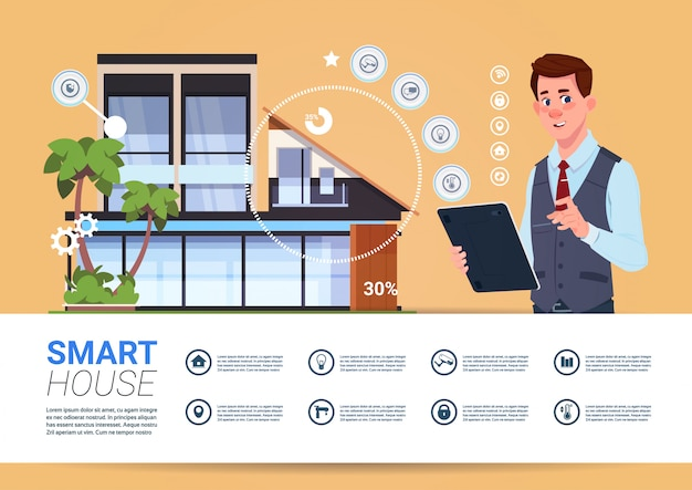 Smart home technology banner with man holding digital tablet device with control system