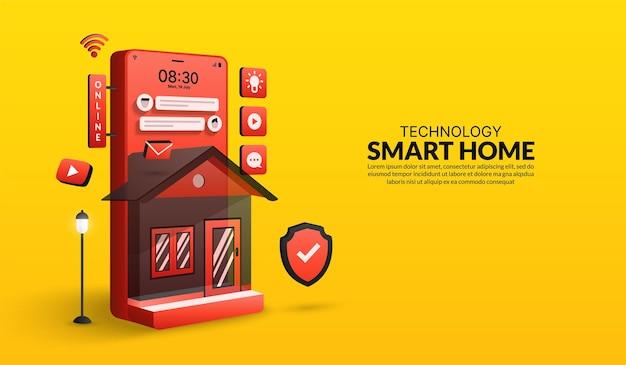 ホームオートメーションシステムの制御されたスマートホームテクノロジーコンセプトデバイスモノのインターネット