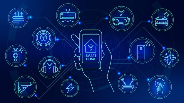 Smart home technology. connected devices with smartphone app control. internet of things automation system with digital icons vector concept. illustration smartphone house, smart security app