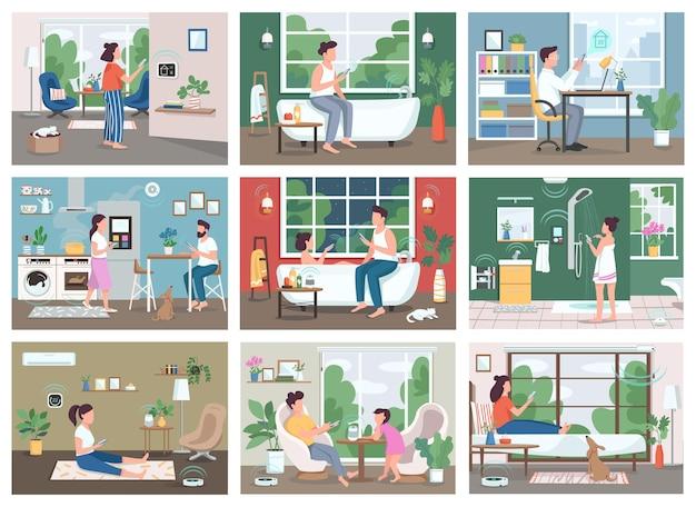 スマートホームテクノロジーフラットカラーセット。スマートフォンの2d漫画のキャラクターを持つ若者。 iot、未来的な家庭生活の革新。自動化された家電製品のリモコン
