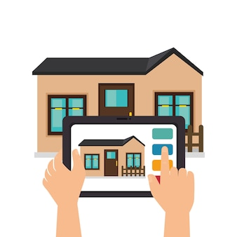 Smart home technology icon vector illustration design