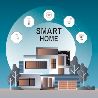 Smart home technology infographic vector