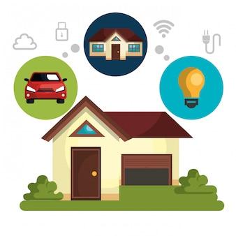 Smart home technology set icon