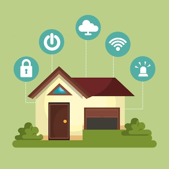 Smart home technology set icon