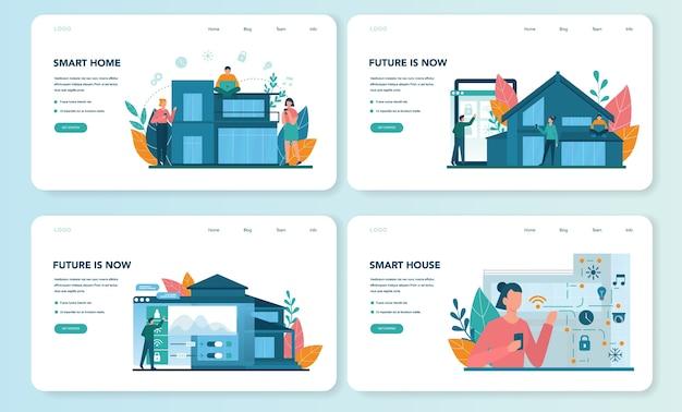 Smart home web banner or landing page set