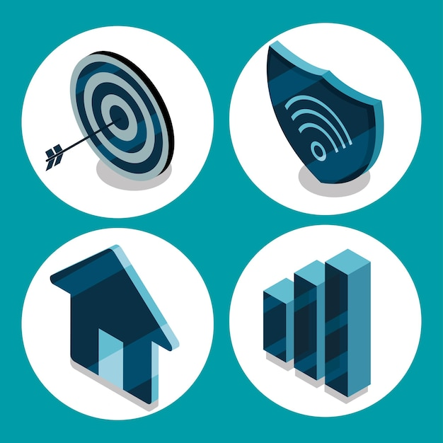 Smart home, wifi security icons