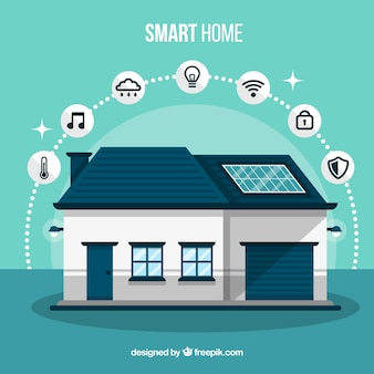 Smart home with functions in flat style