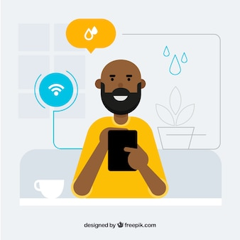 Smart home with man in flat style