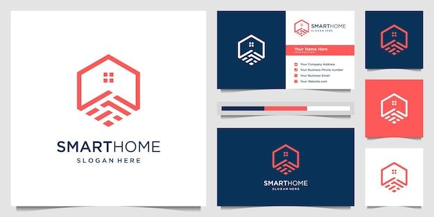Умный дом с абстрактной головоломкой концепции многоугольника. креативный логотип и визитная карточка.